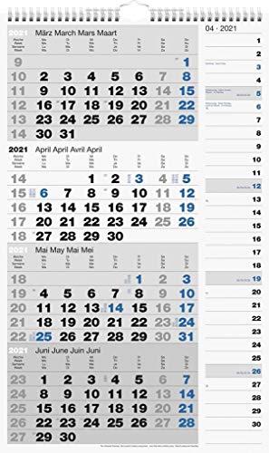 rido/idé 7033430001 Wandkalender/Vier-Monats-Kalender Kombi-Planer 4, 1 Blatt = 4 Monate, 300 x 490 mm, Kalendarium 2021, Wire-O-Bindung mit Aufhänger
