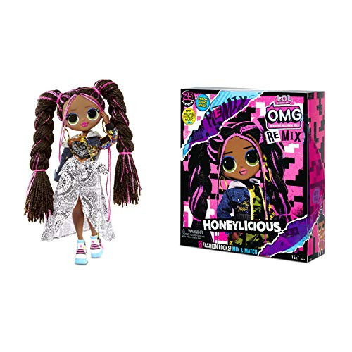 LOL Surprise OMG Remix Honeylicious Fashion Doll, Plays Music with 25 Surprises Including Shoes, Hair Brush, Doll Stand, Magazine, and Record Player Package - for Girls Ages 4+