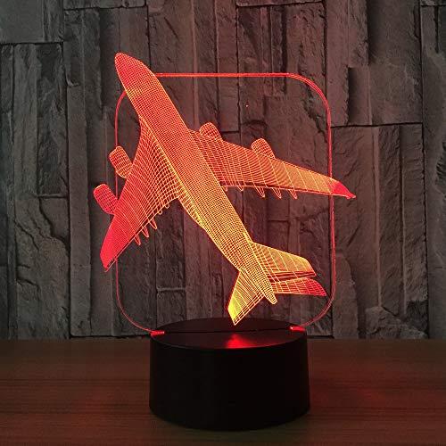 3D illusie lampen vliegtuig model 7 kleuren LED nachtlicht touch-schakelaar USB gebruik tafellamp kinderen bedlampje kerstcadeau verjaardagscadeau