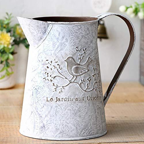 Shabby Chic Mini Metall Krug Flower Vase Urtümliches Krug Bird Deko large