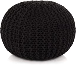 vidaXL Hand-Knitted Pouffe Living Room Bedroom Foot Rest Stool Seat Ottoman Furniture Cotton 50x35cm Black
