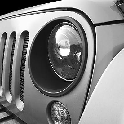American 4wheel Front Lights Trim Covers HeadLight Bezels Off Road 2&4 Doors Jeep Wrangler & Unlimited 2007-2018 Rubicon Sahara sports JK JKU
