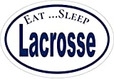 WickedGoodz Oval Lacrosse Decal - Lax Sticker - Eat Sleep Design - Perfect Player or Coach Gift
