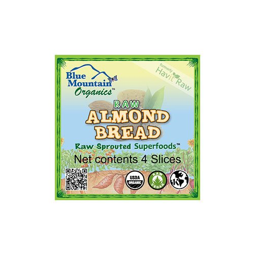Blue Mountain Organics, Raw, Vegan, Paleo, Organic, Sprouted Almond Bread (4 slices), 5 oz