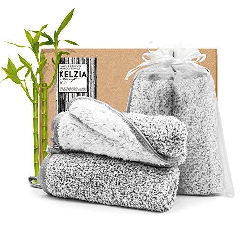 Panno struccanti riutilizzabili - CARBONE ATTIVO IN BAMBÙ e microfibra (confezione da 2) lavabili-Tutti i tipi di pelle-Struccanti per il viso ECO