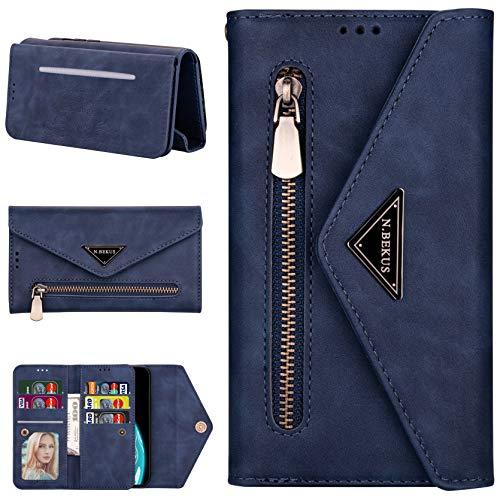 CTIUYA Hülle für Samsung Galaxy A40, Brieftasche Handyhülle Leder Wallet Case Hülle Tasche Geldbörse Flip Cover Klapphülle mit Kartenfach Handschlaufe Lanyard Handytasche für Samsung Galaxy A40,Blau