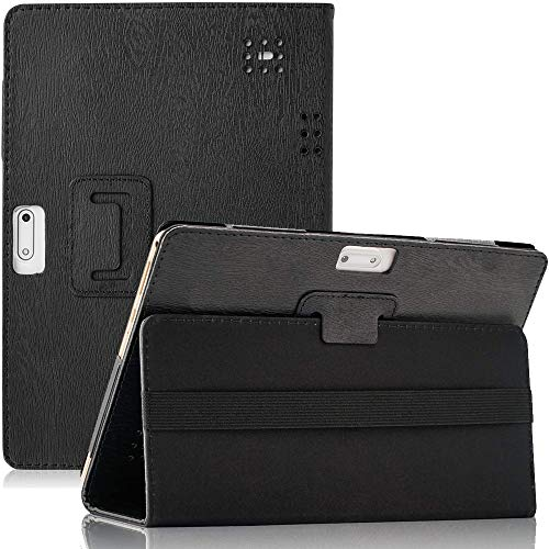 DETUOSI Android Tablet Case 10.1 inch, PU Leather Folio 10.1' Case for Yuntab 10.1 (K17/K107),KuBi 10.1,Winsing 10,LLLCCORP 10,Plum 10' Phablet,Lectrus 10,Victbing 10,Hoozo 10,Wecool 10.1 Tablet-BLACK
