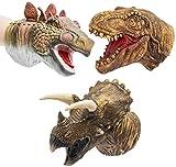 Dinosaurio Marionetas de Mano Padres Infantiles Juguetes Educativos Interactivos Látex Realista Suave Animal Cabeza Juguete Set T-rex Títere Tiranosaurio, Estegosaurio, Triceratops 3 Paquetes