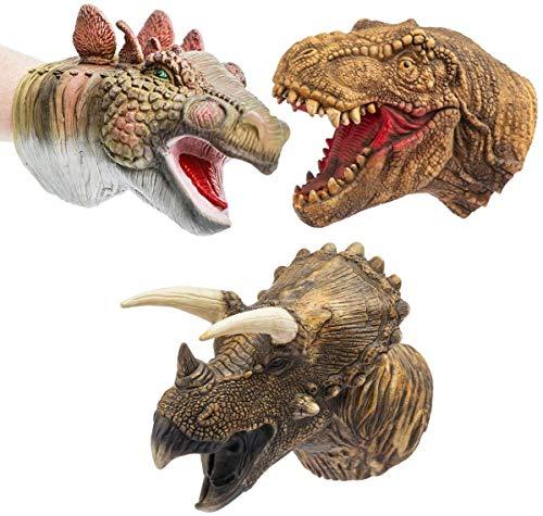 CreepyParty Dinosaurier Handpuppen Eltern Kind Interaktives Lernspielzeug Latex Realistisches Spielzeugset mit weichem Tierkopf T-rex Puppe Tyrannosaurus, Stegosaurus, Triceratops 3 Packungen