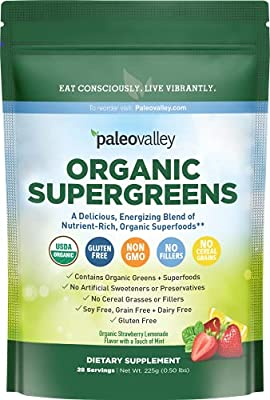 Paleovalley: Organic Supergreens - Raw Green Superfood Powder - 30 Servings - Contains 23 Organic Superfoods - No Cereal Grasses, Soy, Grain, Dairy, Gluten or GMO - for Good Gut Health and Immunity