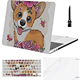 MacBook Air 13 Inch Case Cartoon Corgi with Flowerson A White Background Vector MacBook Air11 Case MacBook Pro13 Pro15 Plastic Case Keyboard Cover & Screen Protector & Keyboard Cleaning Brush