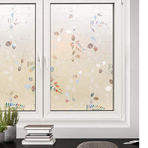 YSHUO raamsticker 3D bladeren decoratief gekleurd glas raamfolie verwijderbare zelfklevende glas sticker statische Cling Vinyl