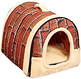 Portable Soft Sided Indoor Small Dog or Cat Convertible Pet House-Size M