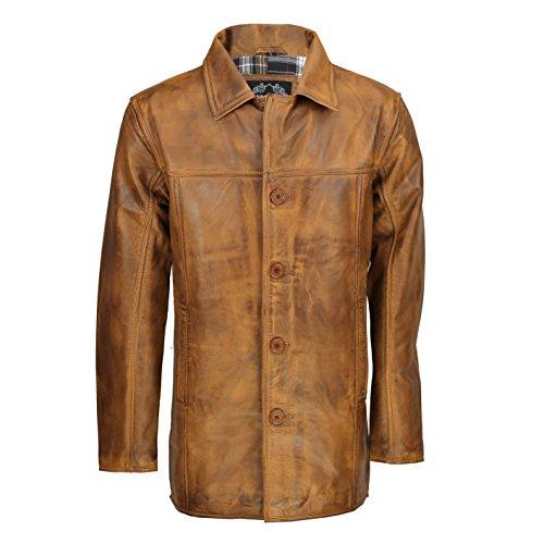 XPOSED - Chaqueta de piel auténtica para hombre, color marrón