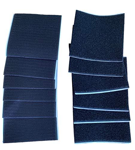 6 Paare 100x100mm Klettverschluss | Klett und Flausch | Selbstklebend | Mit Doppelklebeband Rückseite