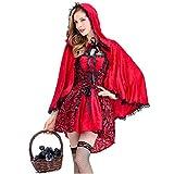 MINASAN Disfraz Mujer Caperucita roja Barroco gótico Lolita Cuento Talla Caperucita roja Mujer (Rojo, XL)