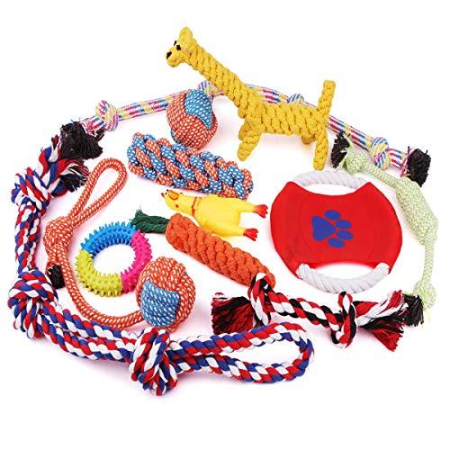 VIEWLON Grupo de Juguetes para Perros, Durable Masticable Cuerda Soledad Grupo de Juguete, Mantener a su Perro Sano, para Perrito Pequeños/Medianos/Grande Perros(12 Piezas).