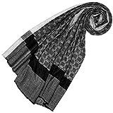 LORENZO CANA Echarpe de 100% Cachemire pour la femme – 70 x 200 cm, à carreaux, naturel - souple et noble – une sensation de luxe en noir blanc