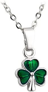 Green Shamrock Necklace Rhodium Plated & Enamel Irish Made