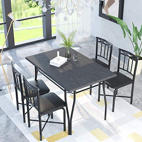 5 Piece Dining Table Set for Dining Room, Kitchen Table and Faux Leather Chairs for 4, Metal Legs, Padded Seat, Black Home Furniture