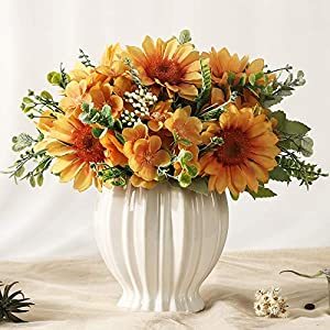 JARELING Artificial Sunflowers Flowers in Vase Fake Silk Flowers Arrangement with Vase Table Centerpieces for Home Decoration
