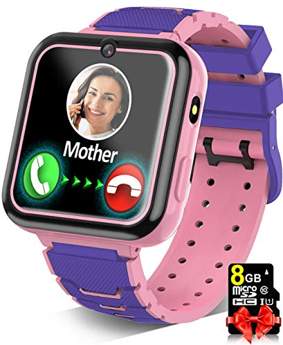 Kids Game Smart Watch for Boys Girls SmartWatch Phone with 7 Intelligent Games 8GB Micro SD Card SOS Alarm Timer 12/24 Hr Music MP3 Player for 4-12 Years Old Students Children Birthday Gift (1.Pink)