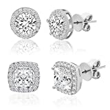 LESA MICHELE Rhodium Plated Sterling Silver Cushion & Round Shaped Cubic Zirconia Stud Earrings for Women 2 Pair Earring Set (White)