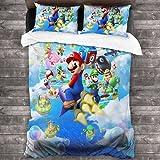 ZCMZMP Ropa de cama con dibujos animados de Super Mario Bros. Ropa de cama de dibujos animados en 3D, individual, doble (1,200 x 200 cm + 80 x 80 cm x 2).