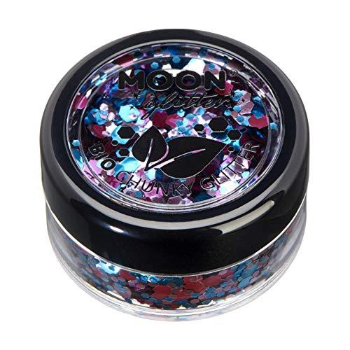 Mystique Eco Chunky Glitter de Moon Glitter biodégradable - 100% Cosmétique Bio Glitter pour visage, corps, ongles, cheveux et lèvres - 3g - Fête