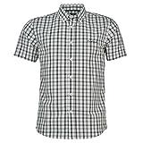 Pierre Cardin - Camisa Casual - con Botones - con Botones - Manga Corta - para Hombre Weiss/Schwarz Check Large