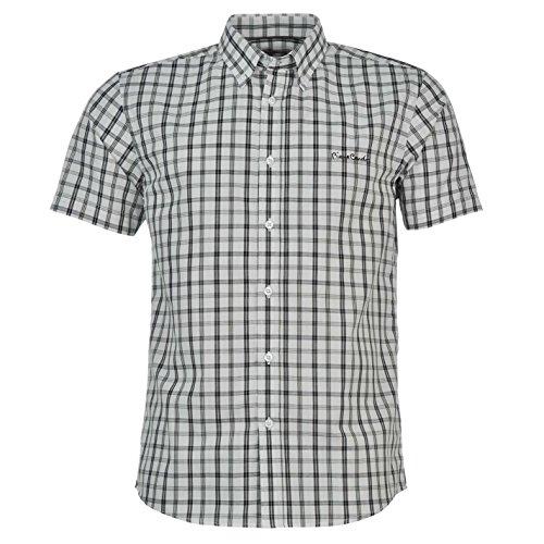Pierre Cardin - Camisa de manga corta para hombre Blanche avec Traits Noirs 4XL