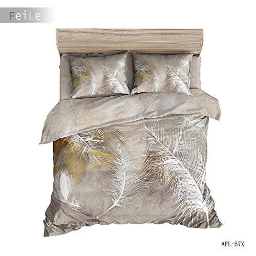 XLLJA Reißverschluss Bett-Bezug,3D Polyester Baumwolle Feder Serie Bettwäsche Set, Bettbezug Mit Kissenbezug, Kinderzimmer, Super King-I_175 * 218 cm (3pcs)