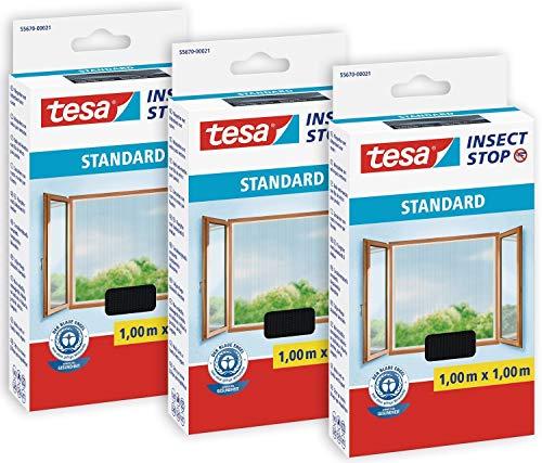 tesa® Insect Stop STANDARD Fliegengitter für Fenster im 3er Pack - Insektenschutz zuschneidbar - Mückenschutz ohne Bohren - 3 x Fliegen Netz anthrazit - 100 cm x 100 cm