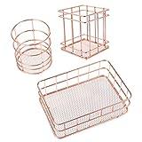 NUOBESTY 3 Unids / Set Portalápices Taza Soporte para Bolígrafo de Oro Rosa Organizador de Escritorio de Metal Organizador de Lápiz de Alambre Soporte de Pincel de Maquillaje para