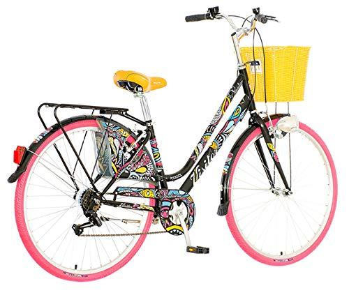 breluxx® 28 Zoll Damenfahrrad Venera Fashion Paradise Citybike mit Korb + Licht Retro Damenrad, 6 Gang Shimano, pink Reifen
