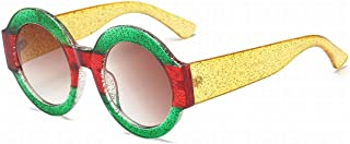 Kainuoo 男性と女性のためのファッションレトロラウンドサングラスサングラスファッション (Color : E)