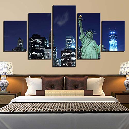 Lzhcjlcylly Foto Modulare Stampa Hd Decorazione Domestica Statua Liberty 5 Pezzi Tela Pittura Architettura Paesaggio Wall Art Poster-40X60 40X80 40X100