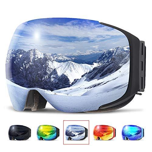 Copozz Ski-/Snowboardbrille für Damen/Herren und Jugendliche mit austauschbarem Glas mit Magnetbefestigung, auch über Sehbrillen und mit Helm zu tragen, G2 Black Frame/Revo Silver Lens(VLT 12%)