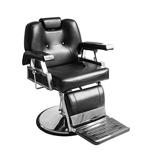 Dakea Professioneller Friseurstuhl Friseursessel mit Kopfstütze, Hochwertige Kunstleder, hydraulischer, zurückziehbarer, kippbar schwarz