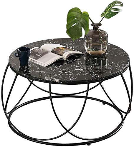 Woonkamer round salontafel Tables Coffee Table Marble, Modern Round Decor theetafel, smeedijzer Elegant Frame Design, Huis Living Room Appartement Moderne woonkamer ronde tafel (Size : 80cmx45cm)