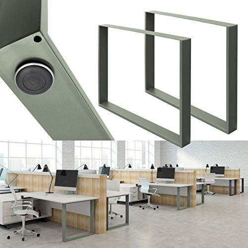 ECD Germany 2x Set Patas de Mesa 90x72 cm Perfiles de Acero...