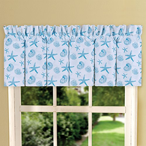 C&F Home Coastal Coral Blue Teal and White Print Cotton 80 x 15 Inch Valance Blouson Valance Blue