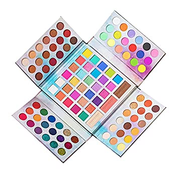 Beauty Glazed 105 Colors Pastel Paradise Eyeshadow Palette Highly Pigmented Neon Shimmer Matte Glitter Rainbow Make Up Eye Shadow Powder with Matte Blush Powder All In One Makeup Gift Set