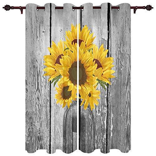 "USOPHIA Grommet Semi Sheer Window Treatment,Sunflowers in Transparent Bottle on Old Wooden Board Print Living Room Bedroom Window Drapes 2 Panel Set, 40"" x 63"""