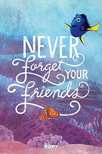 Findet Dorie - Finding Dory - Never Forget Your Friends - Disney Zeichentrick Animation Film Movie Kino Poster Druck 61x91,5