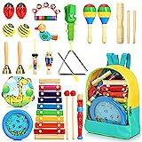 Jojoin 24 Stück Musikinstrumente für Kinder, Holz Percussion Set, Einzigartiges Ocean Wave Bead Drum, Xylophon, Rhythmus Spielzeug Musik Kinderspielzeug Geschenke für Kleinkinder ab 3 Jahre