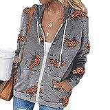 Kobay Damen Herbst Winter Langarm Casual Mantel Oberteile Elegant Langarmshirt Frauen Mode Halloween Zip Hoodie Langarm Tasche Jacke Top Coat(Grau, XXL)