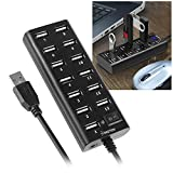 Insten USB Hub 13 Port USB 2.0 High Speed with OnOff Power Control Switch and LED Compatible with Laptop PC Computer USB Flash Drive Card Reader Cell Phone Windows MacOS, Transfer Data up to 480Mbps
