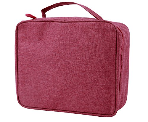 purifyou Classic Insulated Lunch Box - Compact, Easy Wash, Smooth Zipper & Lightweight - Tote Bag & Container, Lunch Bag for Men, Women, Adults (Ladies, Red)
