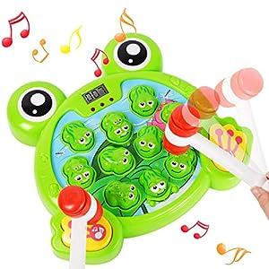 DDYX2020 Juego Interactivo de Golpear a Una Rana con 2 Martillos, Juguete de Desarrollo Temprano para Niños de 2,3,4,5,6,7,8 Años, Luz Musical Regalo Bebe Niño Niña